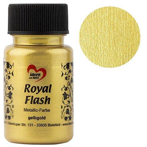 Royal Flash, Acryl-Farbe, metallic, mit feinsten Glitzerpartikeln, 50 ml (gelbgold)