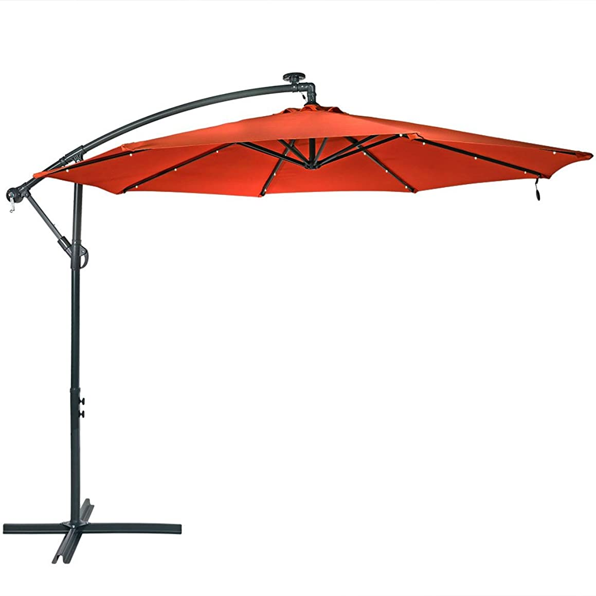 Sunnydaze 10-Foot Offset Cantilever Solar Patio Umbrella with Outdoor LED Lights, Crank, and Cross Base, Burnt Orange