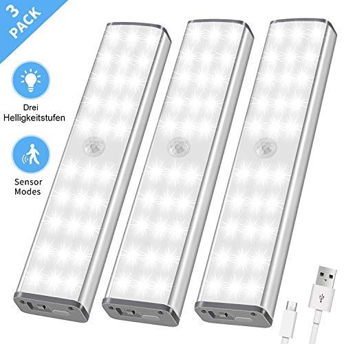 LED Schrankbeleuchtung, Schranklicht mit Bewegungsmelder, 30 LED Licht Unterbauleuchten kabellos Sensor, USB Nachtlicht mit 3 Helligkeitsstufen, Treppenlicht 3er Set