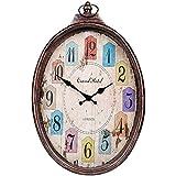 YVX Reloj de Cuarzo silencioso Que no Hace tictac, Ovalado fácil de Leer para el hogar, Cocina, Oficina, Escuela, Reloj de Pared rústico Desgastado, 33 * 50 cm
