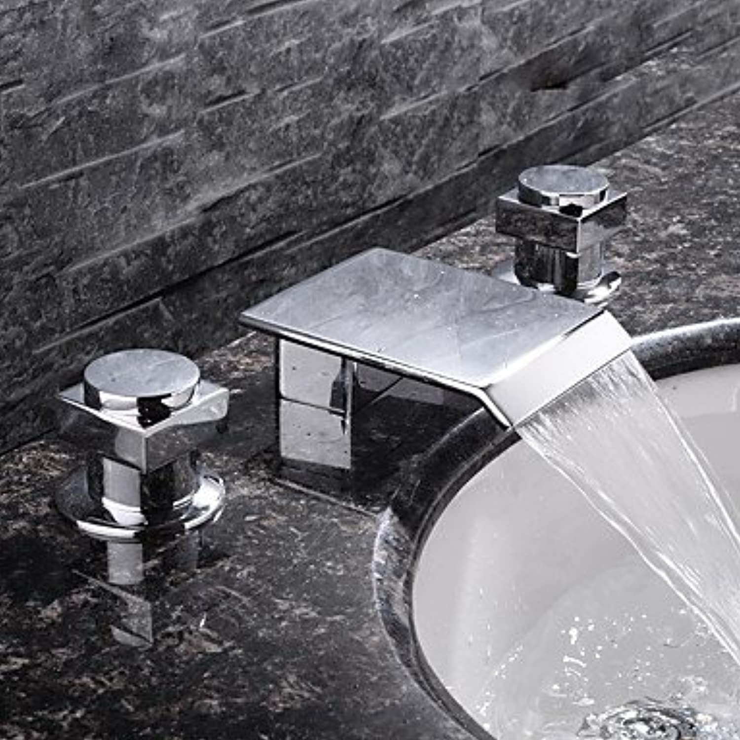 SUNNY KEY-Bathroom Sink Taps@Contemporary Widespread Waterfall with Ceramic Valve Two Two Two Handles Three Holes for Chrome , Bathroom Sink Faucet 0749c8