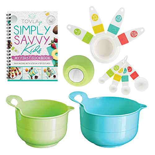 Tovla Jr. Kids Cooking Sets - Childrens Measuring Set with Mixing Bowls, Timer, Measuring Cups, Spoons - Kitchen Accessories for Boys and Girls - Complete Kids Baking Kit Gift Idea