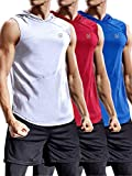 Neleus 3 Pack Workout Athletic Gym Muscle Tank Top with Hoods,5036,Blue,Red,White,3XL