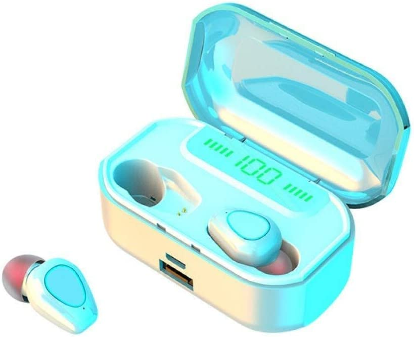 Raxinbang Bluetooth Headphones Wireless Earphone Bluetooth 5.0 Earbuds LED Headphone Headset TWS Waterproof Sport Mini Earphones (Color : White)