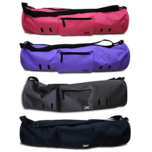 """YogaAddict Yoga Mat Bag 'Compact' with Pocket, 28"""" Long, Fit Most Mat Size, Extra Wide, Easy Access - Black"""