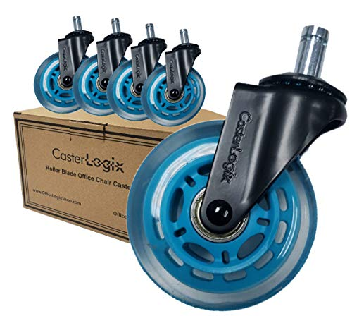 Office Chair Caster Wheels (Set of 5) [Heavy Duty, Soft Rubber, Fully Safe for All Floors incl. Hard-Wood] Desk Chair Roller Blade Style Caster Wheel Replacement - Blue Color