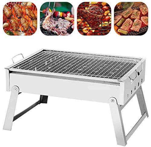 XiYou Fire Pit Bowl BBQ Garden Al Aire Libre Portátil Parrilla de Barbacoa de Acero Inoxidable Carbón de leña Plegable Cocina Camping Picnic Herramientas para 3~5 Personas