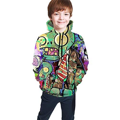 Tengyuntong Kapuzenpullover, Jugend Kinder Hoodie Sweatshirt Langarm Kapuze Kinder Pflanzen Vs Zombies 3D Print Pullover für Mädchen/Jungen/Kinder/Jugendliche