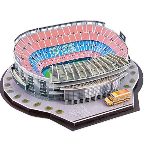 rrff Rompecabezas Clásico DIY Rompecabezas Arquitectura Camp NOU Juego De Fútbol Estadios Construcción Ladrillo Juguetes Modelos A Escala Conjuntos Papel De Construcción