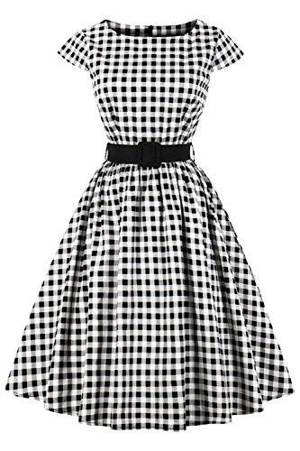 Axoe Damen 50er Jahre Audrey Hepburn Vintage Kleid Rockabilly Cocktail Partykleid Polka Dot- Gr. L (40), Weiß Karierter