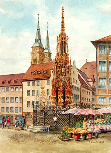 "Kunstdruck nach Aquarell: ""Nürnberg, Schöner Brunnen"""