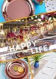 Topways® Partyzubehör Pappbecher Pappteller Set, Einweg Papier Geschirr Set einschließlich Tischdecke Teller Becher Strohhalme Servietten zum Geburtstag, Hochzeiten, Jubiläums (16 Gäste) - 6
