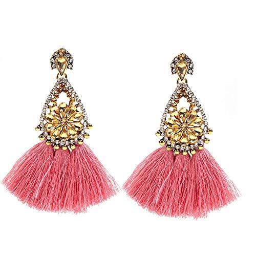 Presock Pendientes Mujer,Aretes Ethnic Exaggerate Tassel Earrings For Women Vintage Dangle Drop Earring Wedding Pendientes Jewelry 2A2001 PINK1