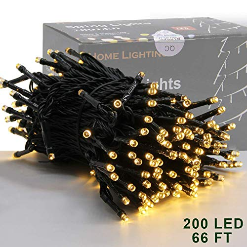 Home Lighting 66ft Christmas Decorative Mini Lights, 200 LED Green Wire Fairy Starry String Lights Plug in, 8 Lighting Modes, for Indoor Outdoor Xmas Tree Wedding Party Decoration (Warm White)