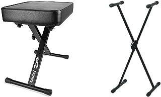 RockJam Premium Teclado Acolchado Ajustable, Banco y Taburete de Piano + Pure GEWA F900520Soporte de Teclado, Patas Perfil...