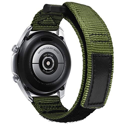 VISOOM 22mm Armband Nylonband Kompatibel mit Galaxy Watch 46 mm Bändern/Gear S3 Frontier Band/Galaxy Watch 3 Band Black Men Soft Woven Loop Ersatz für Samsung Galaxy Watch3 45 mm (Armeegrün)