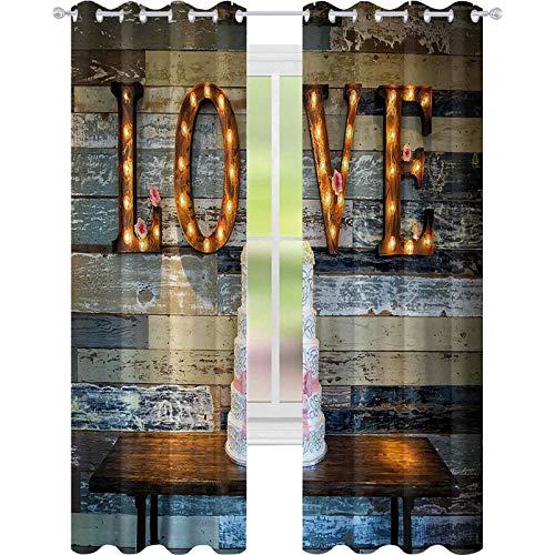 Cortinas para dormitorio, celebración, tarta de boda con palabra amor San Valentín como sinage sobre fondo de madera, cortinas opacas de 52 x 84 para la sala de estar, multicolor