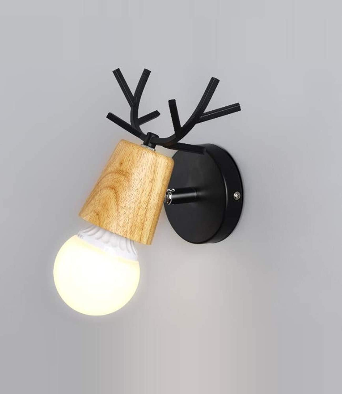 OwentsWall Lampe Nordic Simple Bedside Personality Wandleuchte Wohnzimmer Schlafzimmer Lampe Kinderzimmer Gang Treppe Geweih Massivholz Single Head Wandleuchte