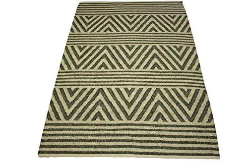 Kelim Tapis 100 % laine utilisable des deux côtés Noir/olive 160 x 230 cm