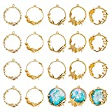 OLYCRAFT 20pcs Sea Theme Open Bezel Pendant 5-Style Alloy Frame Pendants Color-Lasting Hollow Resin Frames with Loop for Resin Jewelry Making - Gold