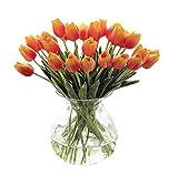 Dylandy - Ramo de flores artificiales de tulipán para decoración de casa, cocina, salón, comedor, mesa de boda, centros de decoración, 10 piezas, naranja, Length: 32cm