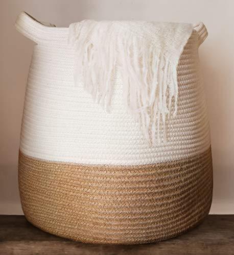 GooBloo Großer gewebter Korb aus Baumwollseil, 43,2 x 43,2 cm hoch, dekorativer Aufbewahrungskorb für Wohnzimmer, Spielzeug oder Decken – Weidenkörbe mit Griffen, Deckenkorb – niedlicher Baby-Wäschekorb