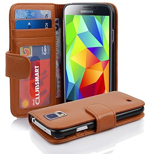 Cadorabo Hülle für Samsung Galaxy S5 / S5 NEO in Cognac BRAUN – Handyhülle mit Magnetverschluss und 3 Kartenfächern – Case Cover Schutzhülle Etui Tasche Book Klapp Style