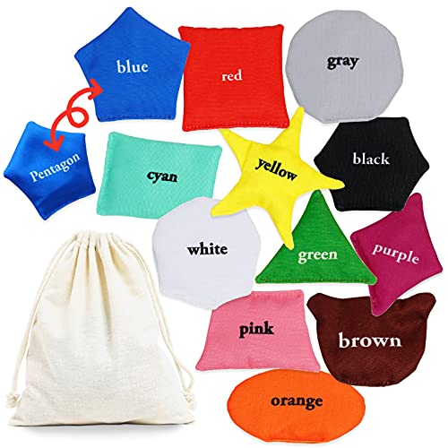 OleOletOy Educational Bean Bags for Toddlers, 12 Pack Preschool Learning Toys for Kids to Learn Shapes and Colors, Beanbags Montessori Activity, Fun Travel, Catch or Toss Game for Boy and Girls