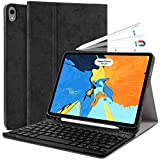 Samsers iPad Pro 11 Keyboard Case 2018 - Detachable Wireless Keyboard, Ultra Slim Non-Slip Microfiber Leather Case with Pencil Holder 【Support Apple Pencil Charging】 for iPad Pro 11 inch 2018 - Black