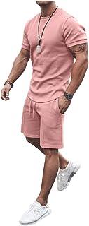 Men's Sleepwear Short Sleeve Pajama Set Tops and Bottoms Sleepwear Loungewear PJ Set Nightwear Summer