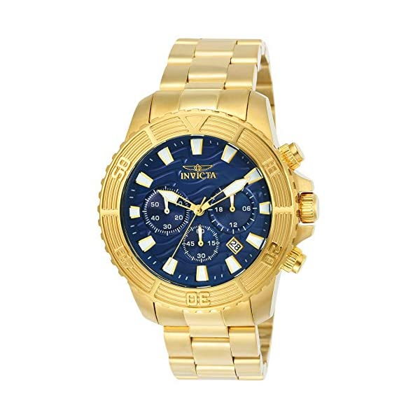 Invicta Men's Pro Diver Quartz Watch with Stainless-Steel Strap, Gold, 22 (Model: 24001)