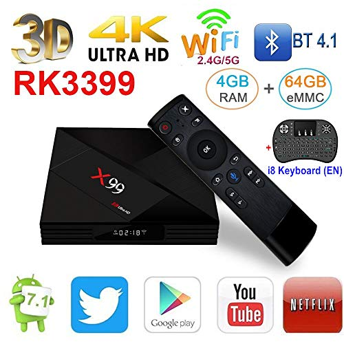 X99 4GB 64GB Rockchip RK3399 Android 7.1 TV Box 2.4G&5GHz Dual WiFi BT4.0 1000M LAN USB3.0 Type-c Media Player with Wireless Mini Backlit Keyboard