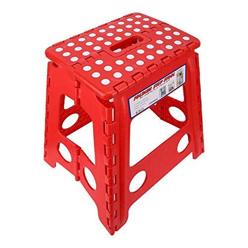 FILFEEL Klappbarer Tritthocker, Klapphocker aus Dot-Kunststoff Kleiner Stuhl Fortgeschrittener tragbarer Massagehocker für Kinder oder Erwachsene, Angeln im Freien, Game29 * 22 * 39 cm(rot)