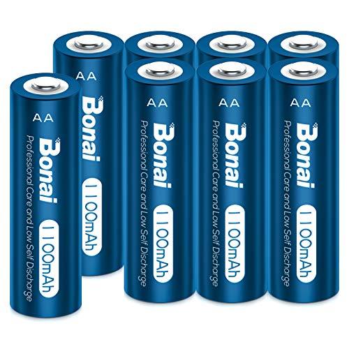BONAI Pilas AA Recargables 8 Piezas 1100mAh 1.2V NI-MH 2000 Ciclos Precargadas Pilas Recargables AA para Reemplazo de Baterías de Luces Solares