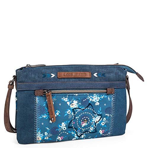 Lois - Bolso pequeño Bandolera de Mujer con Solapa. Lona Denim y Polipiel. Ideal para Todos los días o Paseo. Moda, Calidad y Bonito diseño. 304315, Color Azul