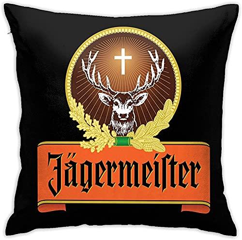 KEROTA Jagermeister (2) Funda de almohada de terciopelo acogedora cuadrada para decoración del hogar para cama, sofá, sala de estar, fundas de cojín de 45,7 x 45,7 cm