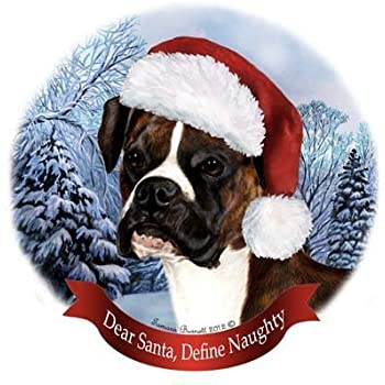 Pet Gifts USA Dog in Santa Hat Porcelain Hanging Howliday Ornament (Boxer)