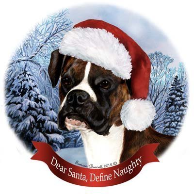 Pet Gifts USA Dog in Santa Hat Porcelain Hanging Howliday Ornament (Boxer)