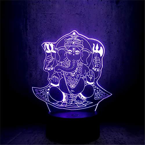 LBJZD nachtlicht Buddha 3D Led Usb Nachtlicht Visual 7 Farben Illusion Rgb Tisch Schreibtisch Lampe Geburtstag Urlaub Lord Elephant Requisiten Mit Fernbedienung