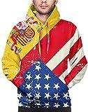 EE. UU. América España Bandera Hombres Sudaderas con Capucha Manga Larga Sudaderas Abrigo con Bolsillo