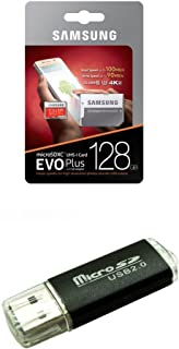 128GB Samsung Evo Plus Micro SDXC Class 10 UHS-1 128G Memory Card for Samsung Galaxy Note 8, S8, S8+ Plus, S7, S7 Edge, S5 Active Cell Phone with Bonus SD/TF USB Card Reader (MB-MC128GA)