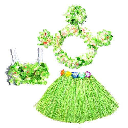 BESTOYARD 6pcs falda de hierba hula tropical traje de disfraces hawaiano conjunto de niños flor pulseras de Leis collar de la venda conjunto de sujetador 40 cm (falda verde)