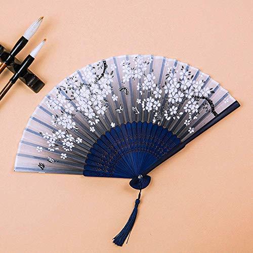 LXTIN Abanico Plegable, abanicos de Mano de Seda Vintage, abanicos Grandes Chinos japoneses para Fiestas de Baile, Regalos de Boda, decoración de Bricolaje, decoración del hogar (Estilo