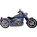 Parche bordado para planchar o coser con diseño de motocicleta azul
