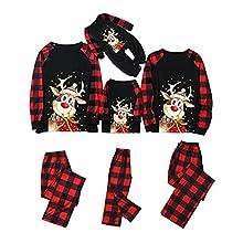 Conjunto de Pijamas Navidad Familia Pantalón largo y Camiseta Tops con Estampado Animal Lindo reno Trajes Familiar Padres Hijos Arbol Infantil Niños Hombre Mujer Otoño Invierno Inicio Jersey