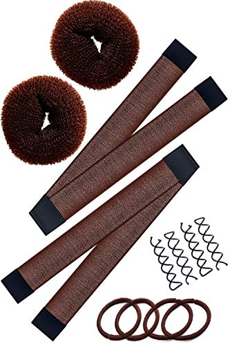 Hawwwy 12-piece Hair Bun Maker, Easy & Fast Small Bun Tool Best Sellers Kit Short or Thin Hair Women Girls Kids Toddler Perfect Ballet Sock Accessory Brown (2 Donuts +2 Magic Snap & Roll +4 Spin Pins)