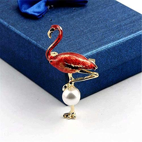 SUNMUCH Flamingo Pearl Brooch Women's Coated Flamingo with Simulated Pearl Brooch Lapel Pin