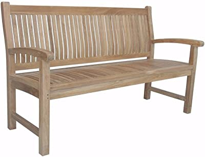 Anderson Teak Sahara 3-Seater Bench, Linen Canvas