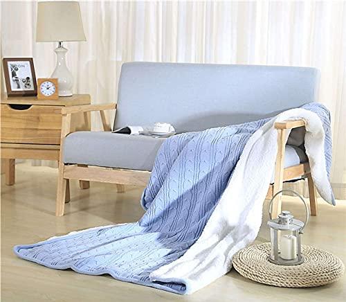 Unmbo Manta para Cama Durable De Lavable Cálida Suave Quilted Blanket para Sofá La Cama,Manta Fleece-Lined De Punto -Azul cielo-120x180cm/47x71inch
