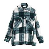 Nobrand Damen-Jacke, kariert, mit Kragen, Woll-Mischgewebe, lange Ärmel, Herbst, Winter, warme Jacke, weibliche Oberbekleidung Gr. Large, grün